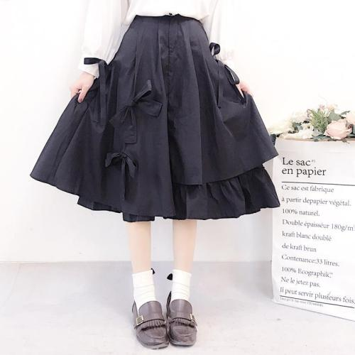 Lolita Pleated Skirt Women Bowknot High Waist 2019 Korean Midi Skirts Irregular Ball Gown Cute Ruffle Black Skirt Plus Size V751