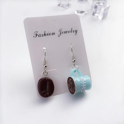 Christmas Fun Funny Coffee Beans Latte Dumplings Earrings Simulation Exaggeration Trend Style Woman Girl Jewelry Gift Earings