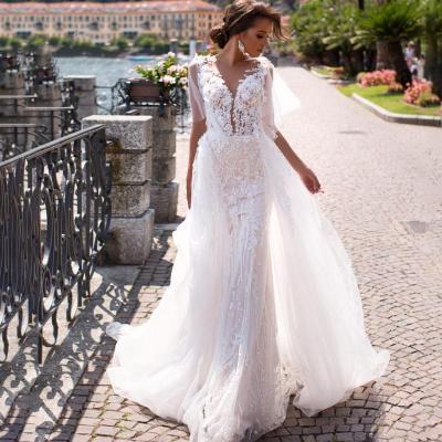 Eightree 3D Flowers Detachable Train Mermaid Wedding Dress Vintage V-neck Lace Appliques Bridal Gown Vestido de novia