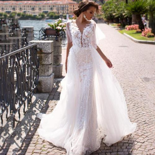 Eightree 3D Flowers Detachable Train Mermaid Wedding Dress Vintage V-neck Lace Appliques Bridal Gown Vestido de novia