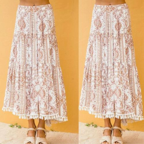 Vintage Boho Floral Print Long Women Skirt High waist A line Tassel Summer Casual  Sexy Ruffle Beach Female Skirt