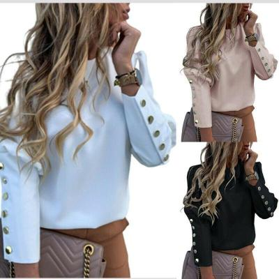 2020 Work Wear Women Blouses Long Sleeve Back Metal Buttons Shirt Casual O Neck Printed Plus Size Tops Fall Blouse Drop Shipping