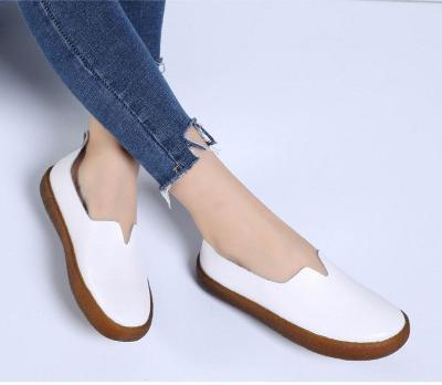 Casual shoes women  & sneakers flats 2019 genuine leather solid flats casual shoes woman slip-on sneakers women shoes plus size