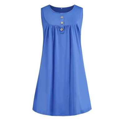 @ Women Plus Size Sleeveless Dress Button Dress Loose Party Mini Dress Comfy Soft Casual Home Dress Платье Off Shoulder Dress