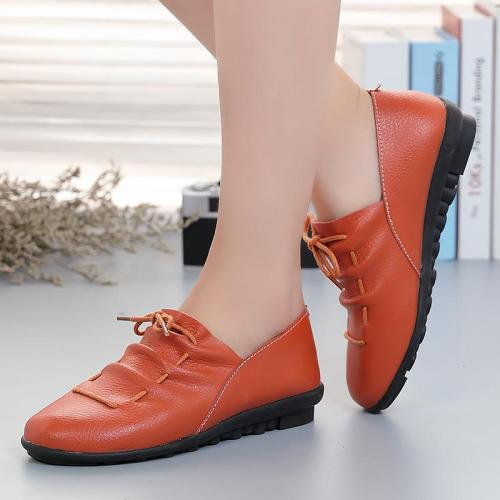 2019 New Genuine leather flats shoes woman rubber lace-up flat with casual shoes women outdoor solid fashion women summer shoes