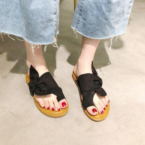 Women Summer Flock Slippers Ladies Butterfly Knot Butterfly Knot Female Sewing Open Toe Paltform Casual Woman Falt Shoes 2020