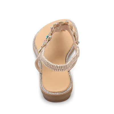 2020 Summer Models Sandals Colored Diamond Beach Sandals Round Toe Flat Shoes Casual Large Size Sandals