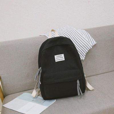 Applique Solid color women backpacks teenage girl Cotton Fabric school satchel female Casual fashion Student bag harajuku ladies