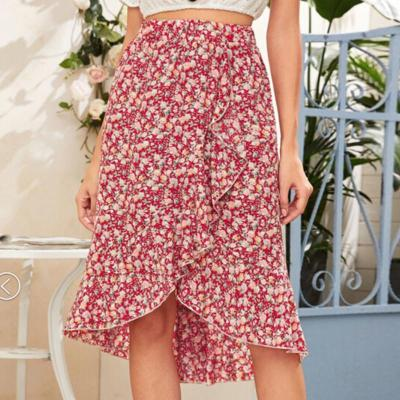 Summer Women Girls Floral Print Asymmetrical Skirt Ladies Fashion Skirt for Party Work Daily Wear