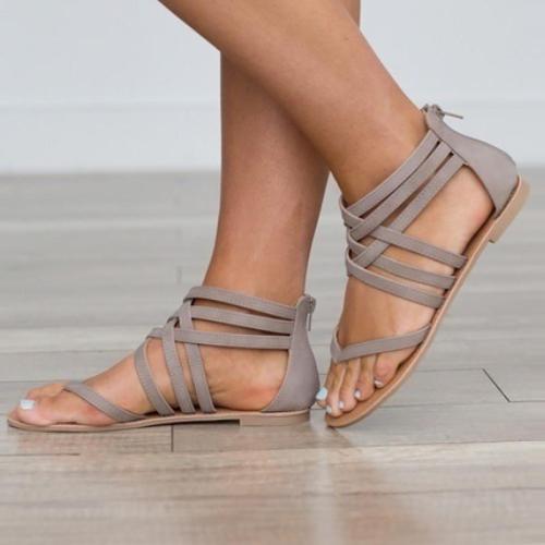 Plus size 9-10.5 cover heel sandals woman zip designer flip flops cross-tied open toe flat sandals female shoes summer