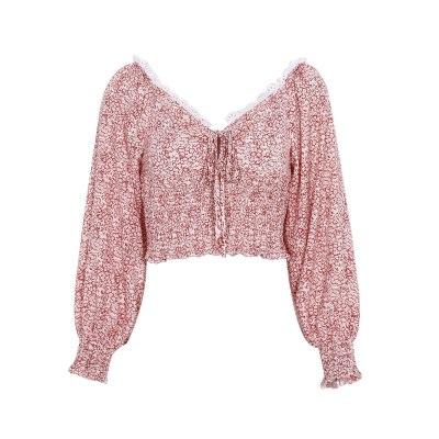 2020 New Korean Lace-up Chiffon Lace Long Puff Sleeve Short Crop Tops Women High Waist Blouse Shirts