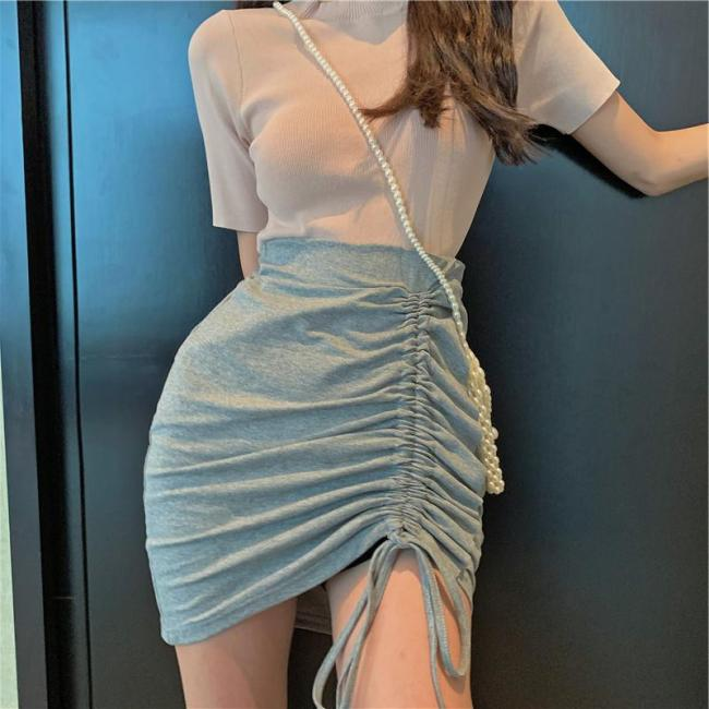 Drawstring Sexy Mini Skirt Women Bodycorn Pencil Skirts Solid Clubwear High Waist Pleated Skirt Plus Size Cotton Summer W471