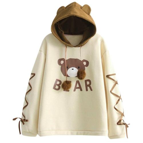 Cute Women Bear Cap Hooded Sweatshirt Harajuku Top Womens Long Sleeve Ribbon Hair Ball Cute Sweat Hooded Jumper moletom #F5