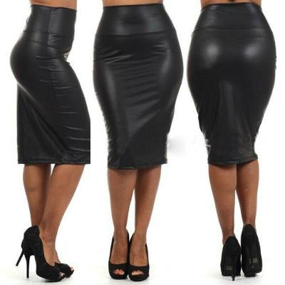 Women Faux Leather Slim Skirt Bandage Body con Vintage High Waist Solid Color Evening Party Pencil Skirts