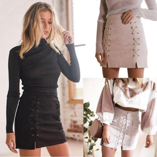 Women Ladies High Waisted Pencil Skirt Bodycon Strappy Solid Color Sexy Fashion Suede Leather Mini Skirts Club