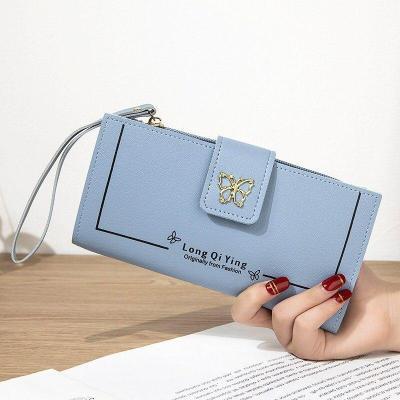 New Ladies Pu Leather Wallet Ladies Long Wallet Money Bag Phone Pocket Ladies Butterfly Buckle Wallet Card Holder Clutch