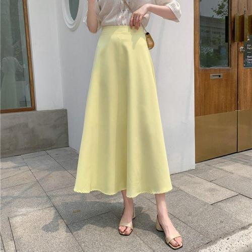 Yellow Long Midi Skirts Women High Waist A-Line Zipper Vintage Casual Solid Skirts Korean Elegant Summer Skirt Plus Size W910