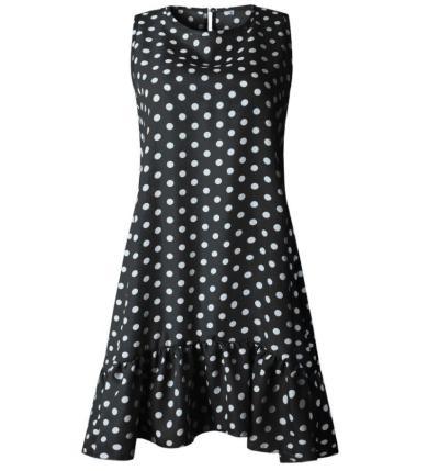 Women Polka Dot Ruffles Irregular Dress Casual O-neck Sleeveless Beach Dress Summer A-line Mini Dress Plus Size S-3XL
