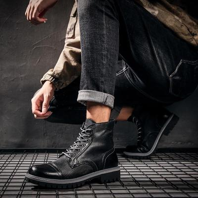 Men's Snow Boots 2020 New British Genuine Leather Warm Boots Handsome Stylish Lace-Up Spring Motorcycle Safety Boots