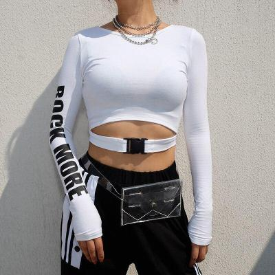 Spring Women Casual Sport Long Sleeve Letter Sweatshirt 2020 Lady Pullovers Short Strap O-neck Cotton Sweatershirt Women T-shirt