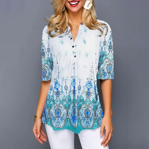 Shirt Women 2020 Plus Size Blouses Tops Shirt Women Casual V Neck Shirt Ladies Blouse Loose Floral Print Tunic Shirt