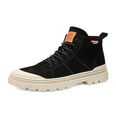 2020 Retro High Quality Men's Martin Boots High To Help Comfortable Winter Anti-slip Black Color Men's Boots