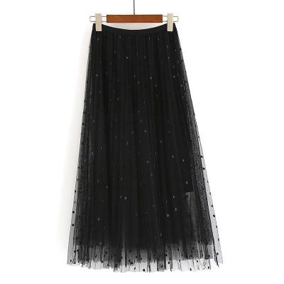 2020 New Spring Summer Ladies Polka Dot Long Skirt High Waist Casual Loose Pleated Skirt Female Elastic Waist Maxi Skirt