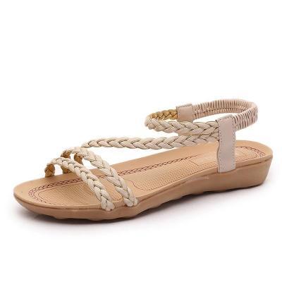 Women Sandals Soft Bottom Summer Shoes 2019 Flat Sandals For Beach Shoes Woman Elastic Sandalias Mujer Black Beige Flip Flop