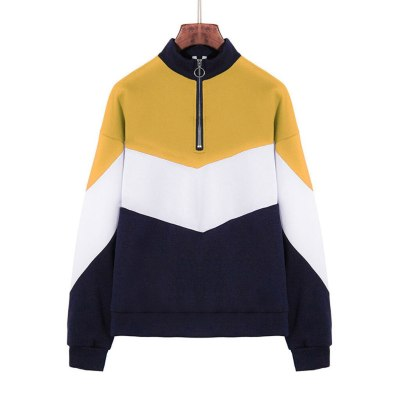 Autumn Women Patchwork Sports Sweatshirt Fashion Zippers Stand Collar Long Sleeve Pullover Casual Loose Streetwear Tops #Y3
