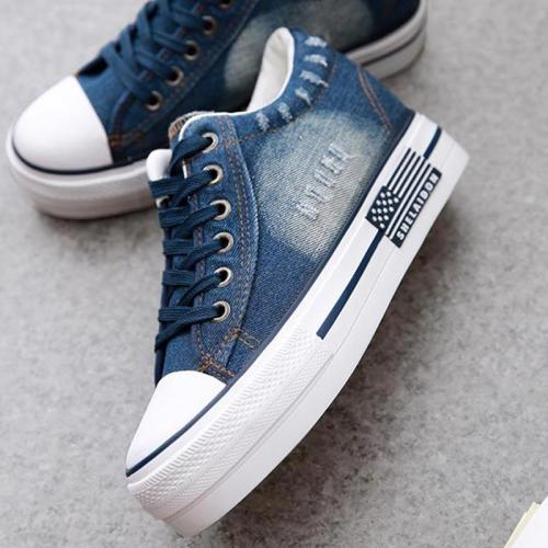 Women Shoes 2021 Sneaker Denim Canvas Shoes Female Summer Casual Trainers Ladies Platform Wedges Shoes for Women Zapatos Mujer