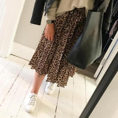 Foridol high waist leopard print maxi long Women's skirt snake print pleated autumn winter skirt 2020 chic vintage skirt faldas