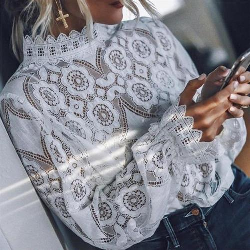 Women Lace Blouse Elegant Formal Embroidery Long Sleeve White Shirts Office Lady Flower Hollow Fashion Female Chemise Clothing