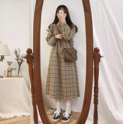 Long Sleeve Dress for Women Plaid Vintage Korean Style Ulzzang Simple School Loose All-match Casual Womens Fashion Daily Dress