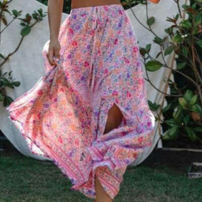 Vintage Floral Holiday Maxi Dress Women Skinny High Waist Ruffles Holiday Beach Casual Fashion Beach Skirts