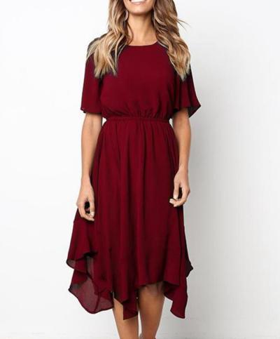 Casual Dress Women Short Sleeve Solid O-Neck Elastic Waist Irregular Hem Spring Summer Knee Length Dress