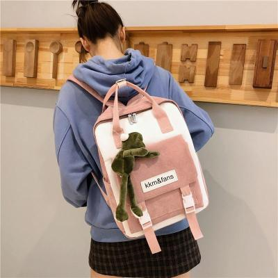Buckle Cute Corduroy Backpack Women Stripe School Bag Teenage Girl Harajuku Backpack kawaii Female Fashion Bag Ladies Luxury New