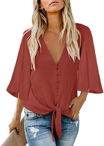 luvamia Women's V Neck Tops Ruffle 3/4 Sleeve Tie Knot Blouses Button Down Shirts
