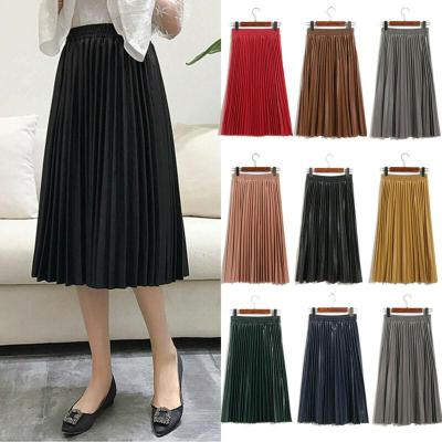 Women Vintage PU Leather Long Midi Pleated Skirt Stretch High Waist Solid Color Casual Office Ladies Skirt