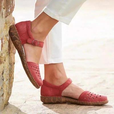 Women Rome Sandals Split Leather Soft Bottom Summer Shoes Woman Casual Flat Sandals Cut-out Ladies Sandalias Plus Size 34~43