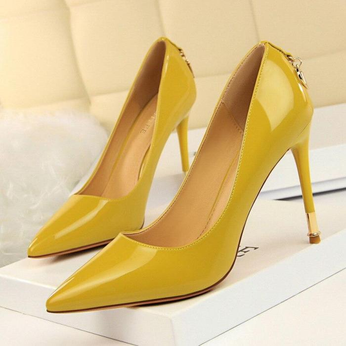 Women Pumps Brand Pink High Heels Sexy Pointed Toe Red Leather Pumps Zapatos Mujer Wedding Shoes G0070