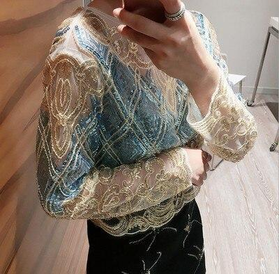 2020 Luxury Party Clothes Women Handwork Short Blouse New Long Sleeve Golden Sequined Shiny Blouses Beading Woman Clothing