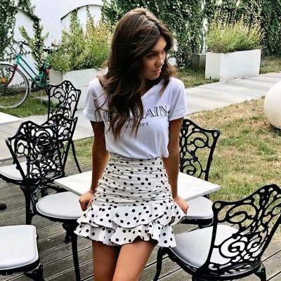 Foridol Polka Dot Ruched Mini Skirt Women White Ruffle Vintage Bodycon Chic Skirt 2020 High Waist Holiday Skirt Faldas
