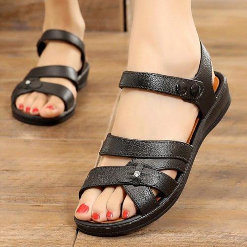 2020 Summer Women's Sandals PU Hook&Loop Casual Mother Sandals Women Platform Flat Sandalias Ladies Female Beach Shoes