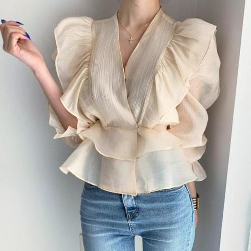 Korean Chic Vintage V-neck Heavy Industry Panel Ruffled Chiffon Puff Sleeve Shirts Women Blouses New Fashion Streetwear 2020