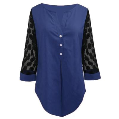 Women Long Sleeve Shirt Plus Size Blouse Shirt Tops V-neck Button Splice Mesh Nine Points Sleeve Casual Loose Women Shirt