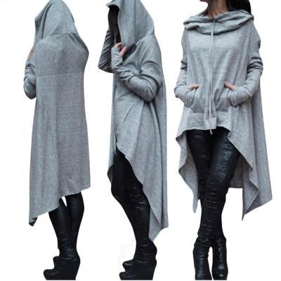 Women Solid Loose Asymmetric Hoodie Ladies Hooded Irregular Hem Sweatshirt Elegant Casual Long Tops With Pocket Harajuku#Y3
