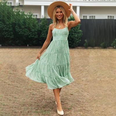Summer Women Dress Sleeveless Casual Beach Spaghetti Strap Cami Dress For Ladies Ruffle Backless Floral Female Midi Dress D30
