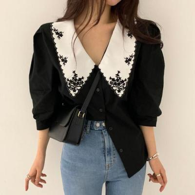 Korean Summer Retro Lapel Embroidery Contrast Color Single Breast Loose Puff Sleeve Shirts Women Blouses Fashion Streetwear 2020