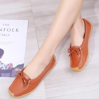 Genuine leather shoes women Snail shoes TPR Non slip Ladies shoes Plus size 42 Flat shoes women Fashion Gingham Comfortable