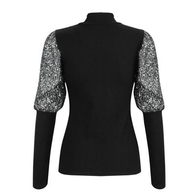 Autumn winter 2020 women sweaters and pullovers sequined puff sleeve knitted sweater pullover female grey slim jumpers tops